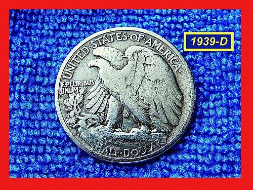 "1939-D  Liberty Walking Half  ★ ""Fine to VF""   (#1800)b"