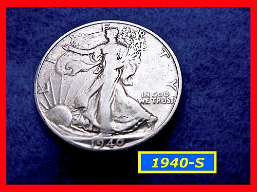 "1940-S  Liberty Walking Half  ★ ""Fine to VF""   (#1671)a"
