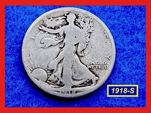 1918-S  Liberty Walking Half  ☆  FULL DATE ☆  (#1724)a