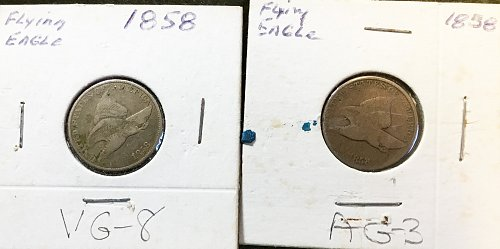 Combination of (2) 1857 AND (6) 1858 Flying Eagles   / L&S-17