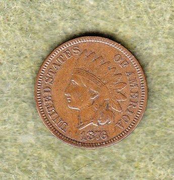 1876 Indian Head Penny   /   WM-68
