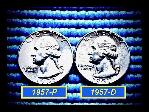 """2-Coin Year-Set ✬ 1957-P & 1957-D Quarters ✬ """"UNC"""" ✬(#2783)a"""