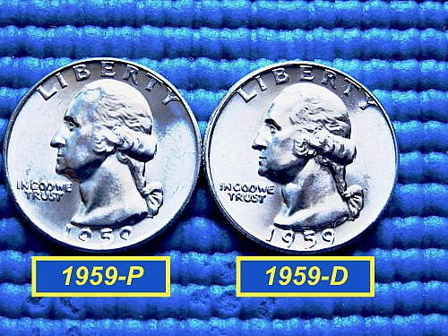 "2-Coin Year-Set ✬ 1959-P & 1959-D  Quarters ✬ ""BU"" ✬ (#2781)a"
