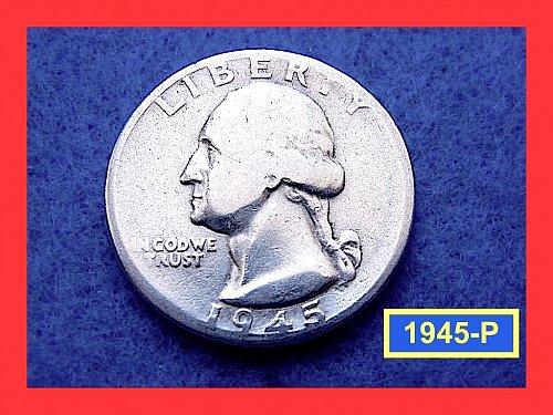 1945-P  Washington Quarter ☆ ☆ ☆  Circulated ☆☆☆  (#2532.1)•