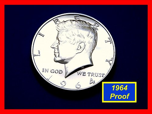 "Silver 1964  PROOF JFK Half Dollar ☆  Grades @ ""PR-64""  ☆  (#1748)a"
