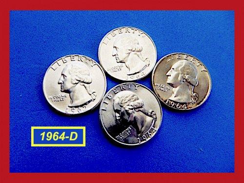 """1964-D   Washington Quarter  ✬  GEM """"BU""""  ✬(#2677.1)a"""