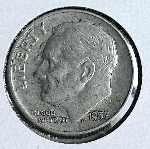 1957 D Roosevelt Dime - 6 Photos!