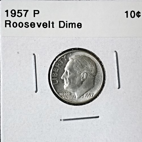 1957 P Roosevelt Dime - 6 Photos!