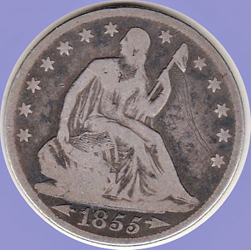 1855 O   Seated Liberty Half