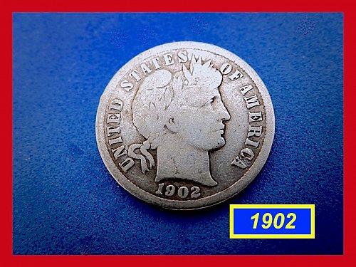 1902-P   BARBER DIME ☆  CIRCULATED ☆    (#3684)a