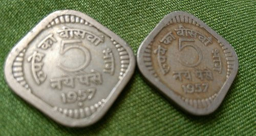 India 1957..Bombay ..Calcutta..5 paisa used.. pair