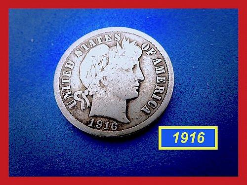 1916-P   BARBER DIME ☆  CIRCULATED ☆    (#3681)a