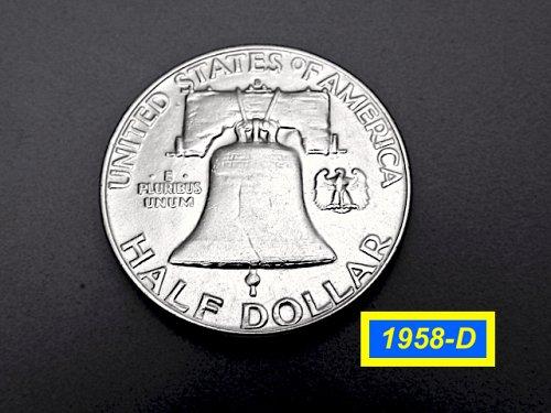 """1958-D Franklin ✬  GRADE: """"XF40-45"""" ✮  (#1753)a"""