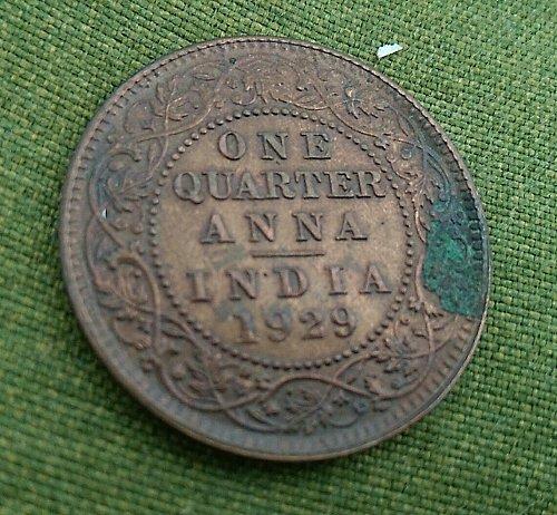 India... GKV...quarter Anna ..1929 Calcutta mint fine grade