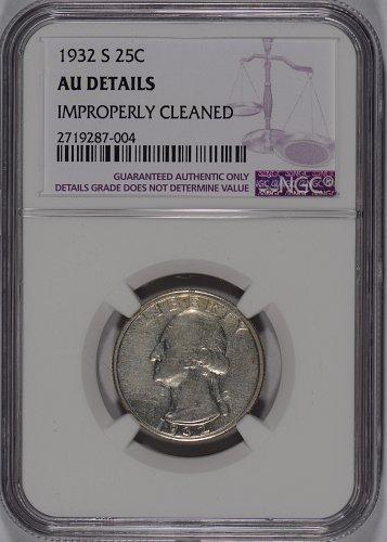 1932-S 25C Washington Quarter NGC AU Details Improperly Cleaned #167517
