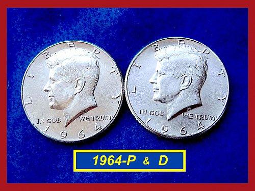 """1964-P & D JFK HALVES ★ 2–COIN Set ★ """"AU"""" Condition ★  (#1622)a"""