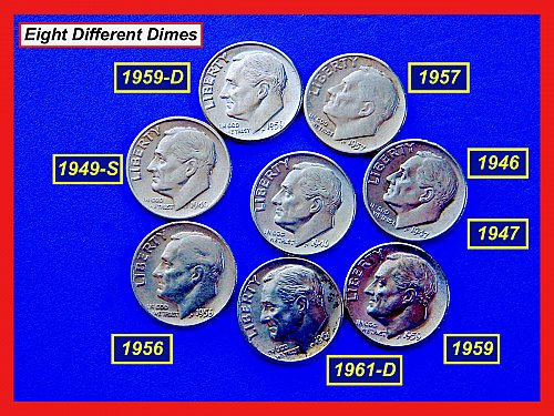 "8 Different Dimes (1946-1961) ☆ ""XF thru MS63"" "" ★  (#3630)a"
