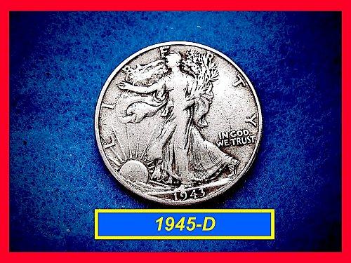"""1943-D  Liberty Walking Half  ★ """"VF-35""""   (#1645)a"""