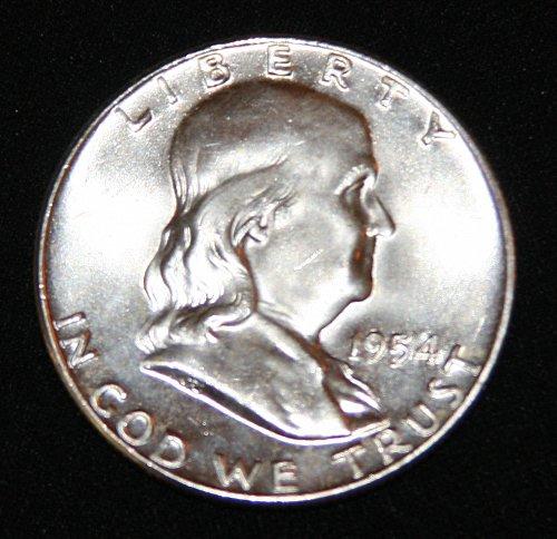 COLLECTIBLE SILVER 1954 FRANKLIN HALF DOLLAR........1A........50C......