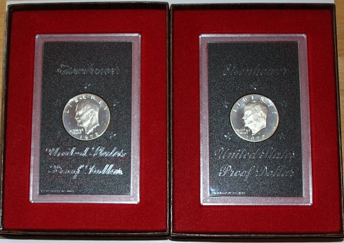 COLLECTIBLE SET OF 1972 S PROOF EISENHOWER SILVER DOLLAR COINS IN CASES....