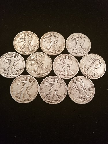 Lot of 10 Walking Liberty Silver Half Dollars