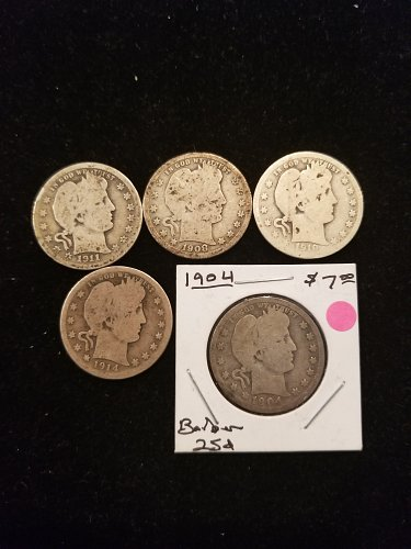 5 Silver Barber Quarters