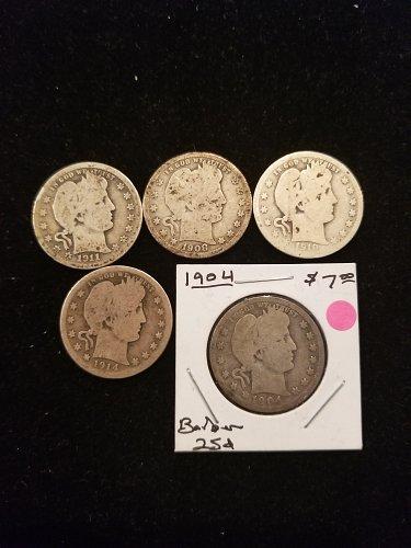 5 Silver Barber Quarters