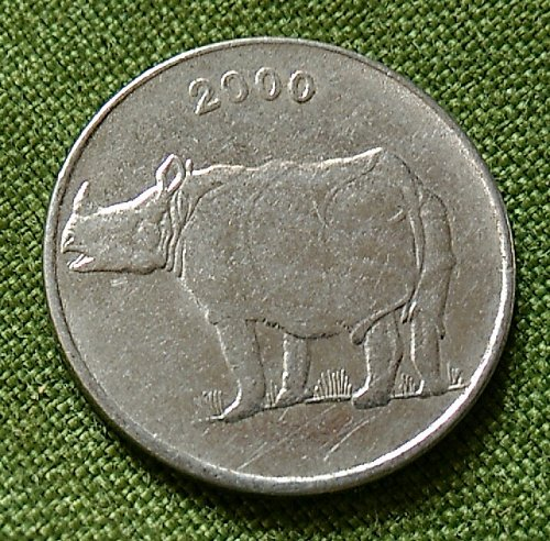 2000...Rhino India circulated coin