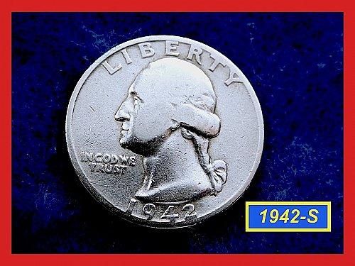 "1942-S   Washington Quarter ✬ ""F-12""   ✬★  (#2813)a"