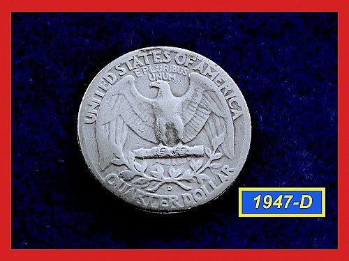 "1947-D   Washington Quarter ✬ ""VG-08""   ✬★  (#2814)a"