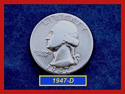 "1947-D   Washington Quarter ✬ ""VG-08""   ✬★  (#2815)a"