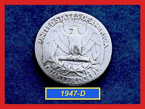 "1947-D   Washington Quarter ✬ ""F-15""   ✬★  (#2816)a"
