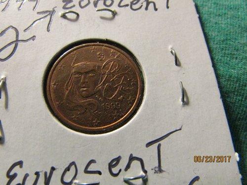 1999 2 EURO CENT B/U CONDITION FREE SHIPPING