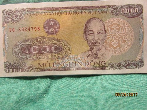 1988 1000 DONG HO CHI MINH VIETNAM CURRENCY UNC BANKNOTE NOTE