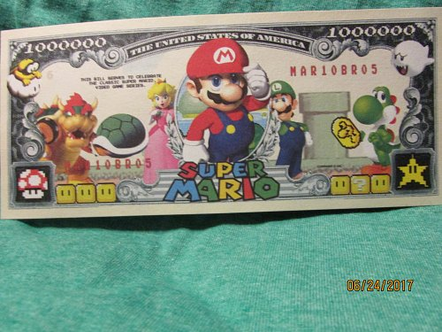 SUPER MARIO BROTHER,S ( NOVELTY ) ONE MILLION DOLLAR BILL UNCIRCULATED FREE SHIP