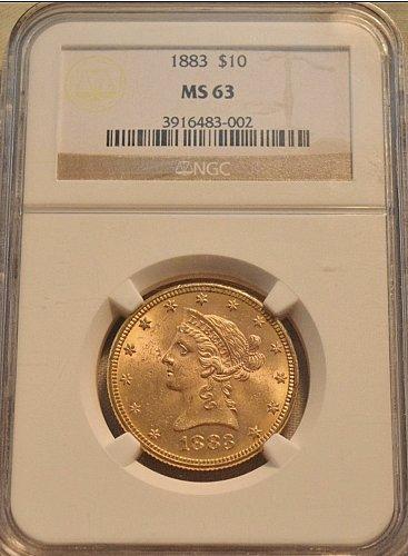 1883 P $10 LIBERTY HEAD GOLD EAGLE MS 63!