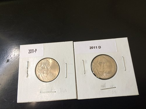 2011 P&D JEFFERSON NICKELS, BU.