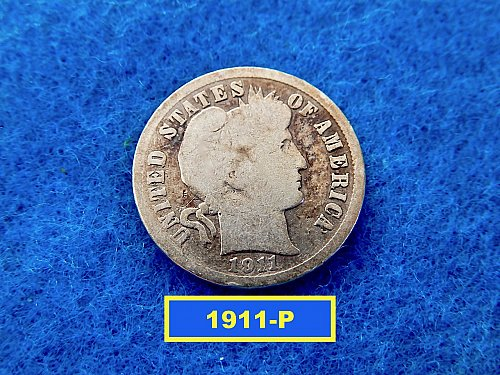 1911-P   BARBER DIME ☆  CIRCULATED ☆    (#3700)a