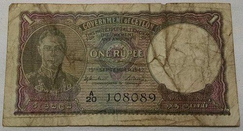 Ceylon George VI One Rupee Banknote September 1942