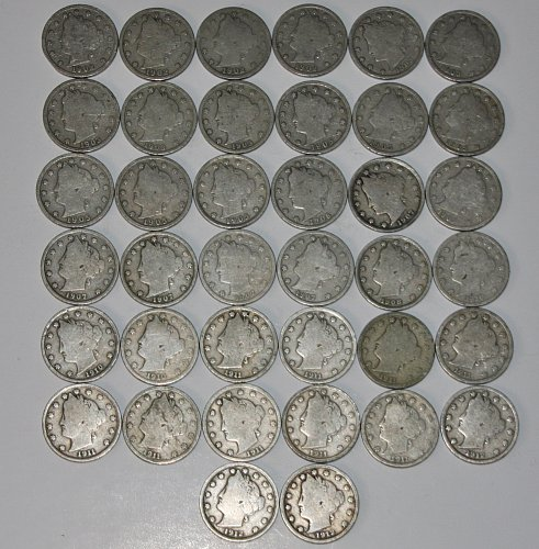LOT OF 38 LIBERTY NICKELS 1902-1912....GOOD+...
