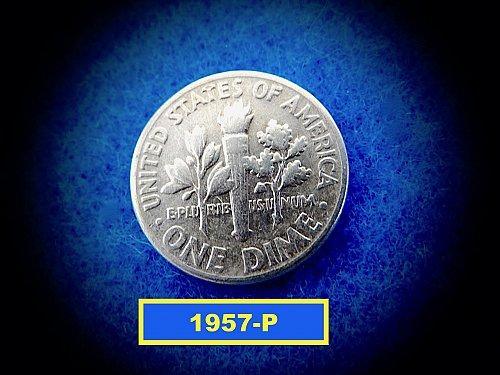 1957-P Roosevelt Dime  ✬   (#3637)b