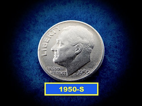 1950-S Roosevelt Dimes   ☆   (#3698)b