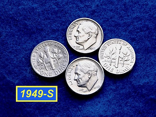 1949-S Roosevelt Dimes  ✬  CIRCULATED Condition   ✬   (#3533.a)➧