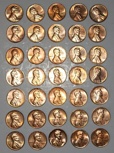 COLLECTION OF 35 1969 BU LINCOLN MEMORIAL PENNIES 1C COINS