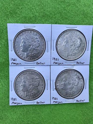 1921 Morgan Silver Dollar - Lot of 4 Coins - 90% Silver U.S. Coin - Free Shippin