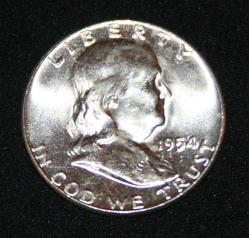 "COLLECTIBLE SILVER 1954-P FRANKLIN HALF DOLLAR ""FBL"" COIN...MS+......5A..."