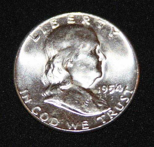 "COLLECTIBLE SILVER 1954-P FRANKLIN HALF DOLLAR ""FBL"" COIN...MS+......5A..."