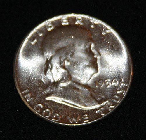 "COLLECTIBLE SILVER 1954-P FRANKLIN HALF DOLLAR ""FBL"" COIN...MS+......2A..."