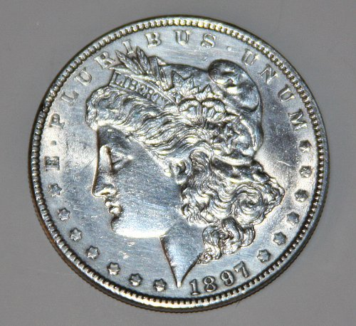 1897 MORGAN SILVER DOLLAR NICE COIN.....AU-MS....