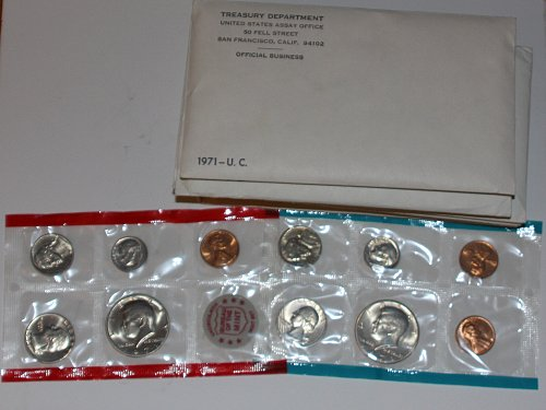 1971-PDS UNCIRCULATED MINT SET 11 COIN SET WITH MINT CHIP ORIGINAL PKG-